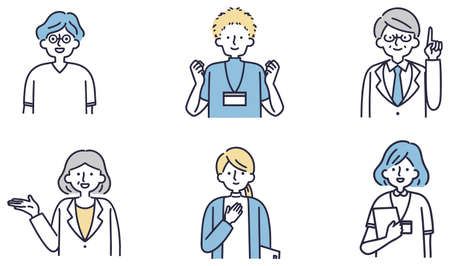 Medical worker male and female simple illustration