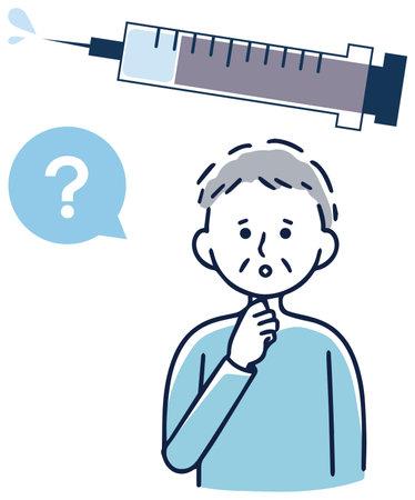 Vaccination vaccination elderly men worried 向量圖像