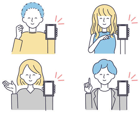 Smartphone pointing male female simple illustration set