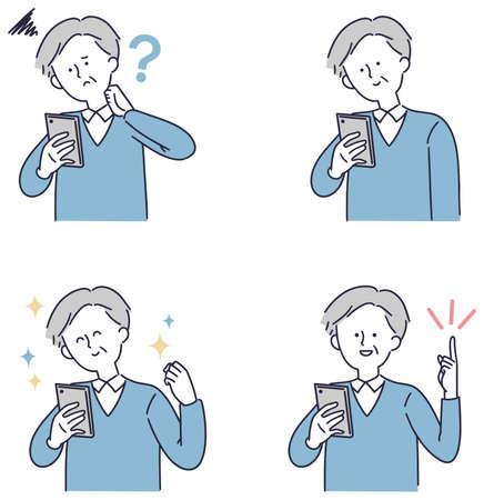 Smartphone senior male simple illustration 向量圖像