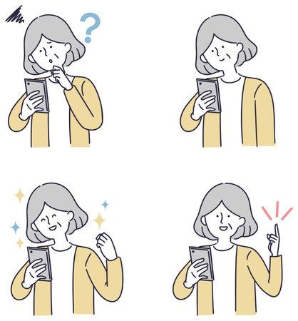 Smartphone senior woman simple illustration