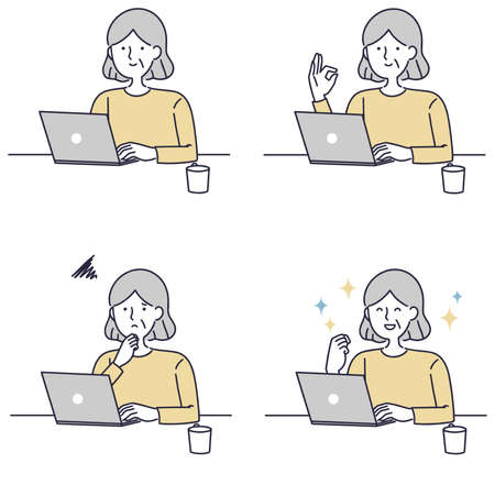 Simple illustration of a senior woman operating a personal computer 向量圖像