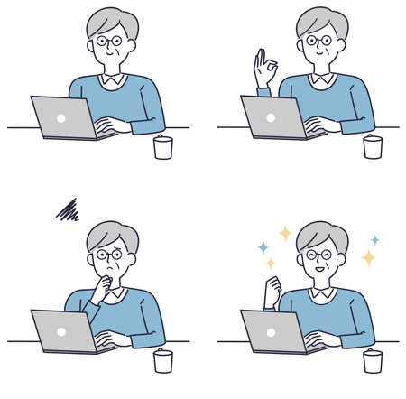 Simple illustration of a senior man operating a personal computer