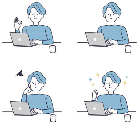 Simple illustration of a man operating a personal computer