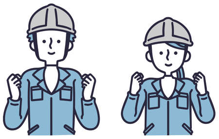 Simple illustrations of men and women wearing work clothes and doing guts poses