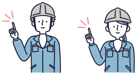 Simple illustrations of men and women wearing work clothes and pointing
