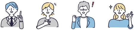 Worried negative men and women illustration set 向量圖像