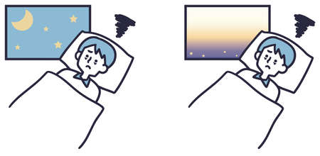 A simple illustration of a man who can't sleep