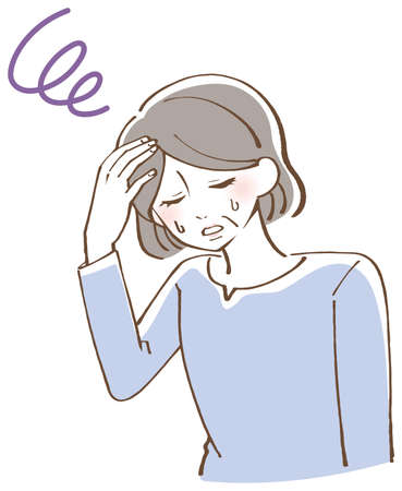 Anemia dizziness senior female illustration