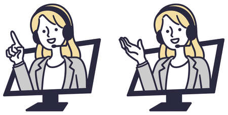 Online information operator Vector illustration female
