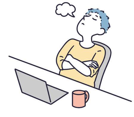 thinking male employee simple illustration