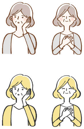 annoyed, pleased, middle-aged woman set illustration