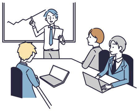 Business team, male and female employees, simple illustration