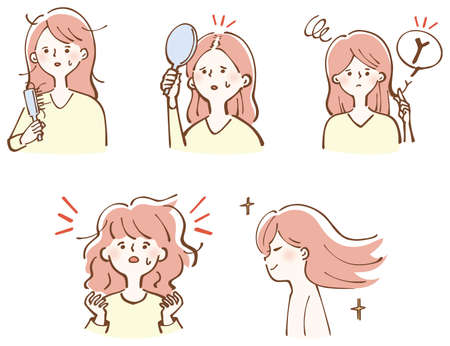 Hair Care Damaged Hair Beautiful Hair Women Illustration Set