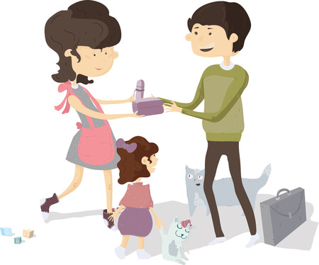 Mom and daughter see off father and giving him bento box and thermos to have lunch.