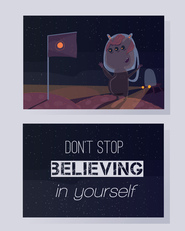 believing: Dont stop believing in yourself. Motivating quote on a colorful card. Space theme, stars background, fun, humor raster illustration.