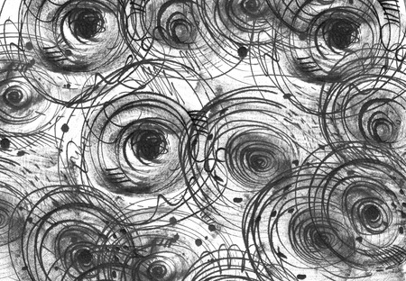 imperfect: Horizontal black and white background with handdrawn ink circles, hand made in freehand style, dark, imperfect, on textured watercolor paper, beautiful illustration for presentation or any design. Stock Photo