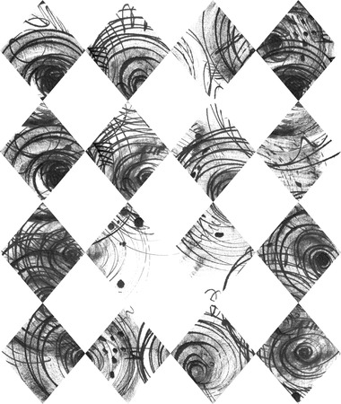 laconic: Seamless black and white background, based on handdrawn ink rhombus, hand made in freehand style, laconic, imperfect, on textured watercolor paper, beautiful illustration for presentation or design Stock Photo