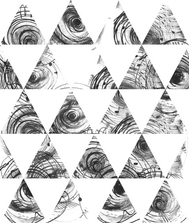 laconic: Seamless black and white background, based on handdrawn ink triangles, hand made in freehand style, laconic, imperfect, on textured watercolor paper, beautiful illustration for presentation or design