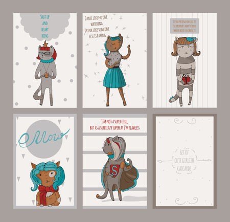 Set of female vertical cards with cats, with reverse and text. Vector illustration, dedicated to love, romance and relationship. All cat characters are cute and kind, with gift or fun quote