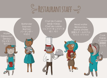 anthropomorphous: Set of beautiful cat female restaurant stuff characters, hand-drawn. Vector illustration with isolated on white anthropomorphous animals, with profession names in different languages.