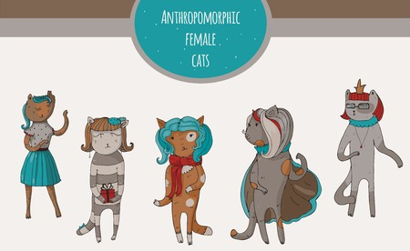 anthropomorphous: Set of beautiful cat female characters, hand-drawn, fun, kind and cheerful. Vector illustration with isolated on white anthropomorphous animals, suitable for mascot using or other design.