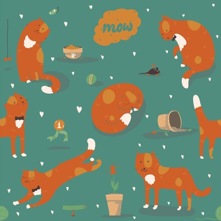 cats playing: Seamless pattern with kind funky ginger cats, fun, stylish. Vector illustration with cat accessories - food, toys, broken flower. Kittens are playing, jumping, sleeping and watching at butterfly.
