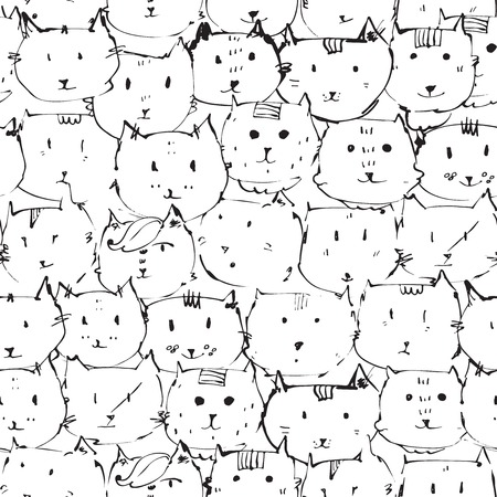 black dye: Seamless texture made with ink cats faces, drawn freehand with liquid dye, emotional, funny, funky, black and white. Vector illustration with emotional cats variations.