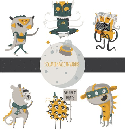 researcher: Vector illustration with cute an funky space invaders, with little planet. Set of aliens isolated on white background, standing and walking humor characters like scientist, researcher, yogi. Illustration