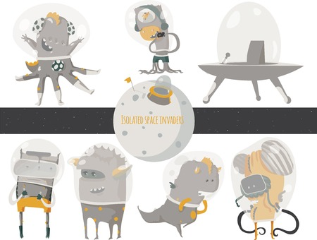researcher: Vector illustration with cute an funky space invaders, with spaceship and little planet. Set of aliens isolated on white background, sitting and standing humor characters like scientist, researcher. Illustration