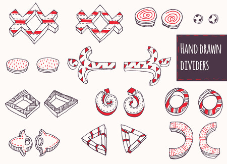 repetition dotted row: Hand-drawn black, red and white couple dividers set, stylish, simple, geometric, ornate with stripes and dots, two-dimensional, perfect for education and lettering, based on different shapes.