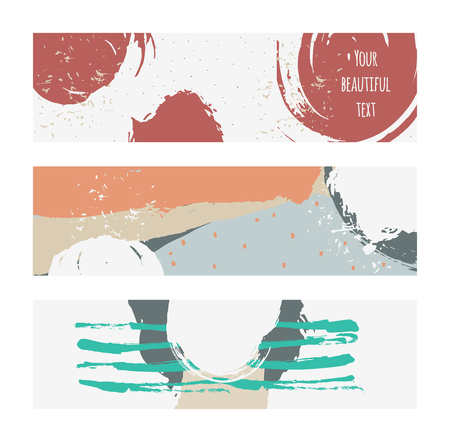 imperfect: Set of horizontal banners, handdrawn, decorated with liquid ink brush splashes, stripes, strokes and spots. Isolated on white background vector branding illustration, stylish, with imperfect parts.