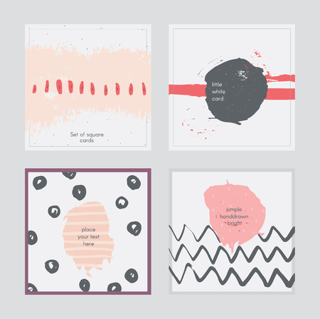 imperfect: Set of square cards, handdrawn, decorated with liquid ink brush splashes, blots, stripes, strokes and spots. Isolated on grey background vector branding illustration, stylish, with imperfect parts.