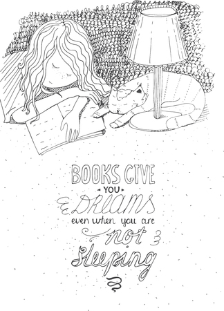 Girl and cat sleeping on book. Vector hand drawn illustration, made with black ink, white paper. Isolated, with simple motivating educational lettering quote, perfect for a bookstore, library