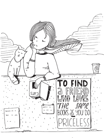athenaeum: Girl and cat reading book. Vector hand drawn illustration, made with black ink and white paper. Isolated on white, with simple motivating educational lettering quote, perfect for bookstore, library. Illustration