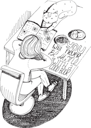 athenaeum: Girl and cat reading book. Vector hand drawn illustration, made with black ink, white paper. Isolated on white, with simple motivating educational lettering quote, perfect for a bookstore or library.