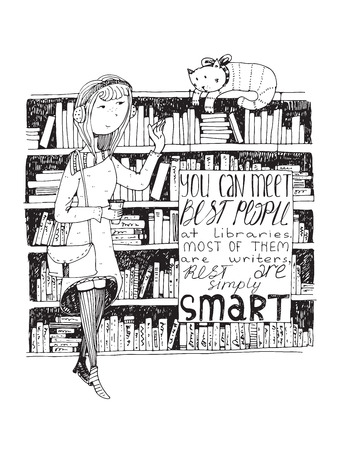 Girl and cat meeting in a library. Vector hand drawn illustration, made with black ink, white paper. Isolated, with simple motivating educational lettering quote, perfect for a bookstore or library.