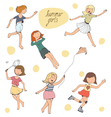 laying down: Set of cute young girls playing outdoors, doing sports and activity - badminton, catch-up, rolling, running a kite, laying down. Isolated on white positive characters, smiling, kind, full colored. Vector illustration