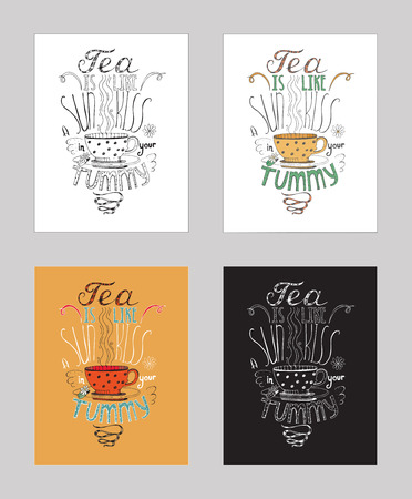 chamomile tea: Vector illustration with motivating inspirational quote about love to chamomile tea. Set of isolated on white background hand drawn typography with warm colors, perfect for cafe or bar poster.