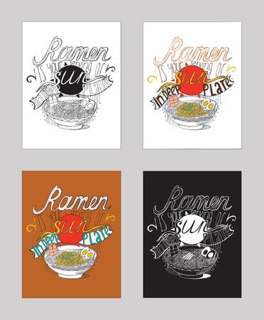 ramen: Vector illustration with motivationg inspirational quote about love to ramen, noodles. Set of isolated on white background hand drawn typography with food in deep plate, perfect for cafe or bar poster