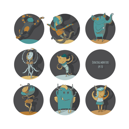 ballet studio: Set of cute dancing monsters, vector color illustration, each creature in a circle, isolated on white background, fun, with moving hands, legs. Icons perfect for ballet school or studio, dance studio. Illustration