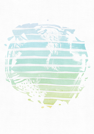 imperfect: Simple vertical template with handdrawn ink circle, hand made in freehand style, with stripe gradient texture, imperfect, grainy, bright, on white watercolor paper, illustration for your presentation or design.