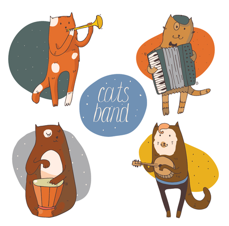 cats playing: Set of fun cats playing musical instruments - drum, accordion, tube, guitar, isolated on white vector hand drawn illustration, kind, colored, with smiling cat faces and circle background on back.