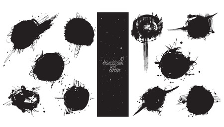 imperfections: Set of 10 large circles, made with hand and liquid ink, freehand, with lots of splashes and blob brush smears. Vector black and white illustration, good for creative designs, drawn with imperfections.