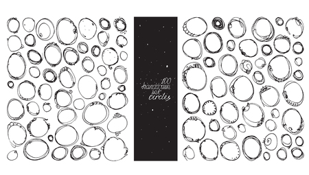 imperfections: Set of 100 circles, made with hand and ink, freehand, with lots of splashes and blob brush smears. Vector black and white illustration, good for creative designs, drawn with imperfections.