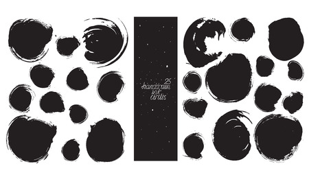 imperfections: Set of 25 circles, made with hand and ink, freehand, with lots of splashes and blob brush smears. Vector black and white isolated illustration for creative designs, drawn with imperfections.