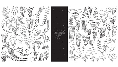 different directions: Set of 70 loop flourishes, made with hand, nib and ink, freehand, ornated in different directions. Vector black and white illustration, good for creative designs, drawn with imperfections.