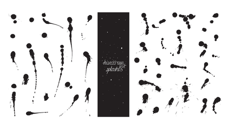 imperfections: Set of brush and nib drops blobs, made with hand and liquid ink, freehand, with lots of splashes and smears. Vector black and white illustration, good for creative designs, drawn with imperfections Illustration