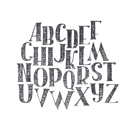 nib: English hand drawn abc from a to z. Capital font made with nib and serif, decorated hatch alphabet, painted freehand. Isolated on white background vector illustration. Letter made in classical hatched style Illustration