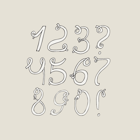 loops: Hand-drawn funky digits, isolated on light background. Hand drawn grunge sequence vector creative illustration. Numbers based on swirls, loops and calligraphy style. Unique design for your print or lettering